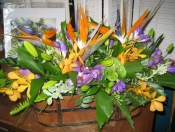Tropical table centerpiece in custom container