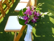 Tropical wedding seat decorations