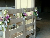 Tropical wedding fence decorations