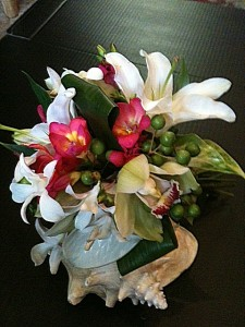 Tropical wedding bouquet: Lilies, orchids, anthuriums, freesia, berries: $75