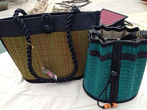 Cambodian Sanaye grass bags in brown and teal