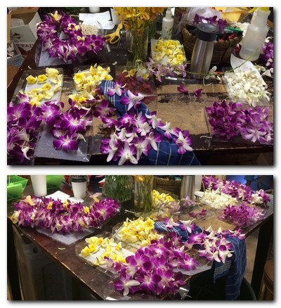 Leis on table
